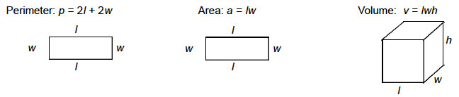IMage showing graphic representations of formulas for perimeter, Area & Volume