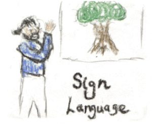 "crayon drawing of man with blue shirt and pony-tail and beard signing ""tree"" with a drawn picture of a tree. the words ""sign language"" are written below the tree."