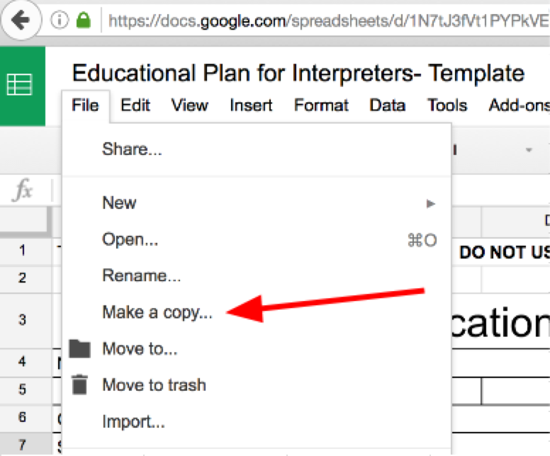 Screen shot of GoogleSheet process for Making a copy from the File menu