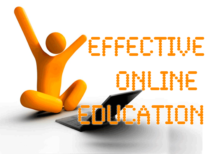 "Orange person sitting in front of lap top - text reads ""Effectie Online Education"""