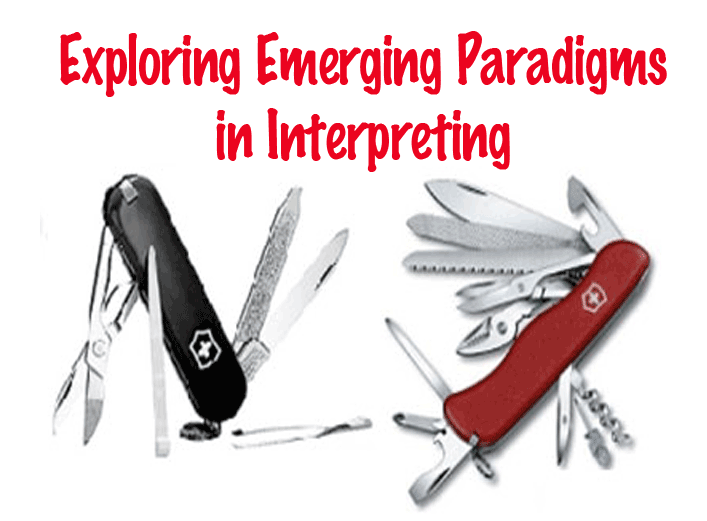 Exploring Emerging Paradigms in Interpreting (image of red and black swiss army knives with multiple tools)