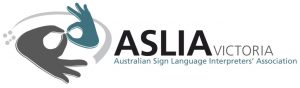"Grey and green hands in interpreter sign with words ""ASLIA Victoria - Australian Sign Language Interpreter Association"""