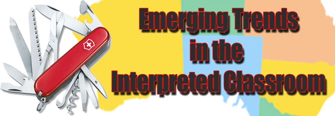 "Image of swiss army knife and map of South Australia with words ""Emerging Trends in the Interpreted Classroom"""