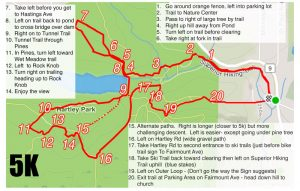 Map of 5K route with directions