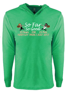 Long sleeve green t-shirt with So Far So Good logo