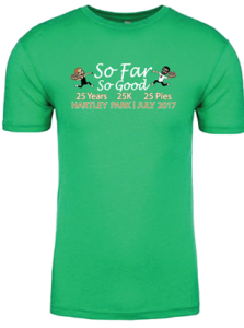 Short sleeve green t-shirt with So Far So Good logo